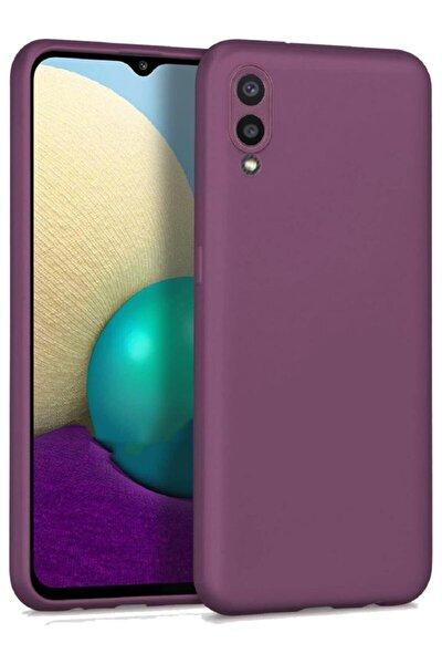 Samsung Galaxy A02 Soft Yüzeyli Yıkanabilir Mürdüm Renkli Arka Kapak