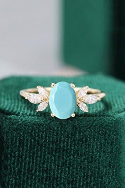 Mavi Firuze Taşlı Ayarlanabilir Kadın 14 K Rose Altın Kaplama Yüzük