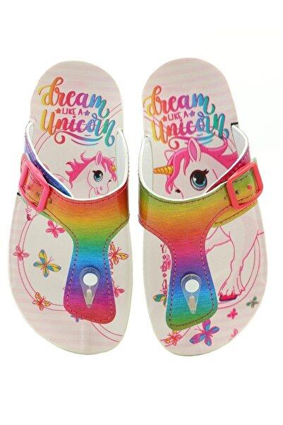 Kid's World Kız Çocuk Unicorn Rainbow Renkli Parmak Arası Terlik