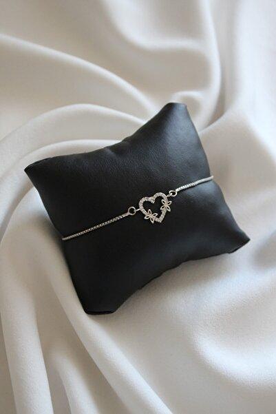 ZİRKONTAŞ Kadın Zirkon Taşlı Kalp Figürlü Gümüş Kaplama Bileklik