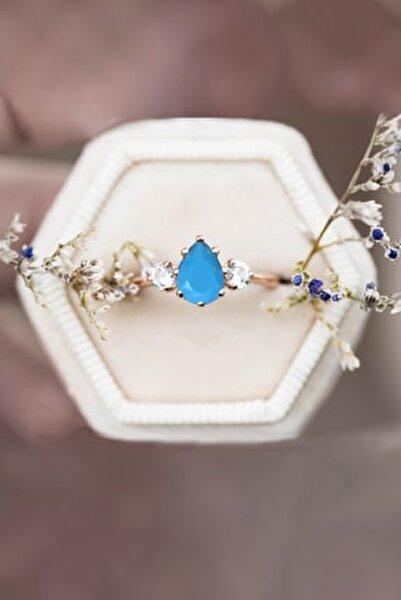 Mistik Topaz Mavi Firuze Taşlı Ayarlanabilir 14 K Rose Altın Kaplama Kadın Yüzük