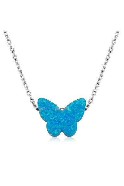 Gumush Gümüş Mavi Opal Taş Kelebek Kadın  Kolye