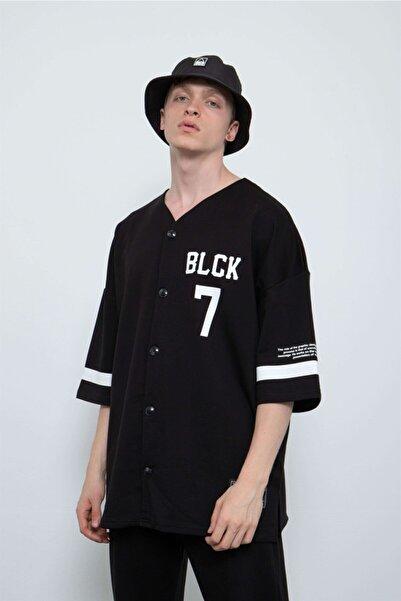 Machinist Blck 7 Siyah Oversize Düğmeli Kimono Pamuklu Gömlek