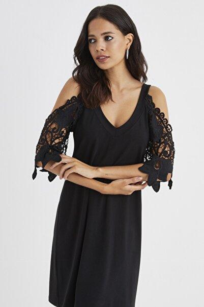 Cool & Sexy Kadın Siyah Kolları Dantel Midi Elbise BK1201
