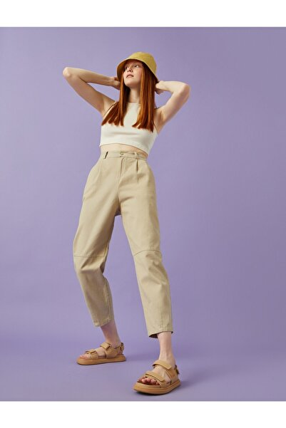 Koton Yüksek Bel Pantolon Pamuklu