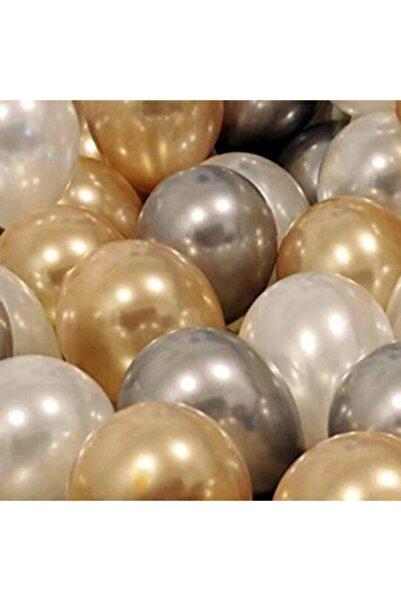 BalonEvi 30 Adet Metalik Sedefli Gold-gümüş Gri-beyaz Balon