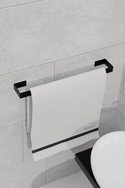 Lemona Metal Parlak Siyah Metal Havluluk, Yapışkanlı Tasarım, Banyo Askısı