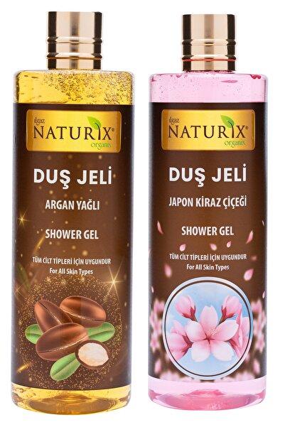 Ilgaz Naturix Organix Organik Japon Kirazı Duş Jeli 400 Ml + Kadifemsi Ten Nemlendirici Argan Oil Duş Jeli 400 Ml Set