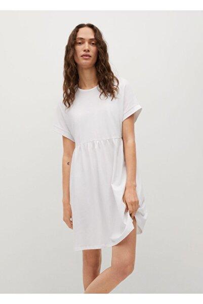 MANGO Woman Kadın Kırık Beyaz Fırfırlı Koton Elbise