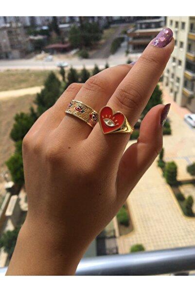 DGN Shoping The Y Jewelry Yeni Sezon Tasarım Kırmızı Yüzük Seti (ayarlanılabilir)