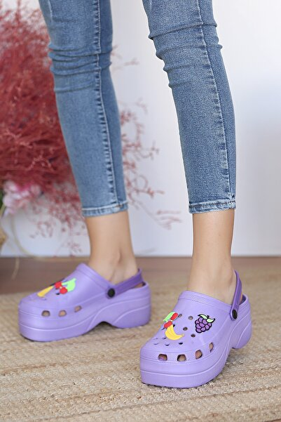 Pembe Potin Kadın Mor Sandalet