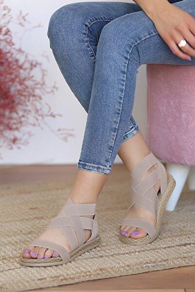 Pembe Potin Kadın Vizon Sandalet