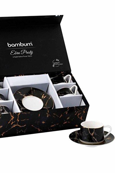 Bambum Marka Ebru Prestij 6 Kişilik Siyah Kahve Fincan Takımı