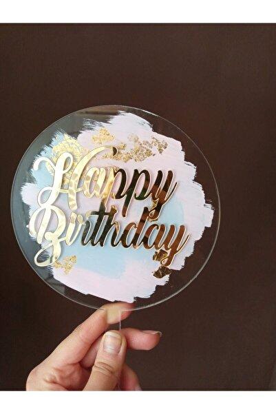 T&T MARPESİA CONCEPT Happy Birthday Pleksi Pasta Süsü Cake Topper