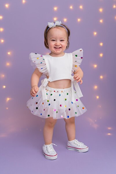 PixyLove Beyaz Kız Bebek Takım Cool Bonibon