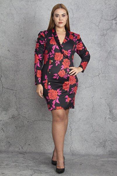 Şans Kadın Renkli Anvelop Yakalı Metal Düğmeli Kolları Büzgü Detaylı Elbise