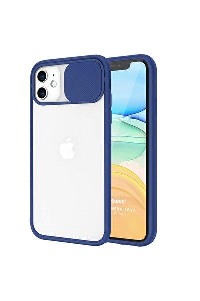 Cekuonline Iphone 12 Mini Kılıf Uyumlu Slider Kamera Korumalı Sürgülü Case Lacivert + Kablo Koruyucu