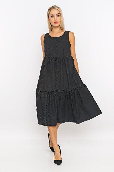 METKON Kadın Puantiye Desenli Rahat Kesim Fırfırlı Elbise