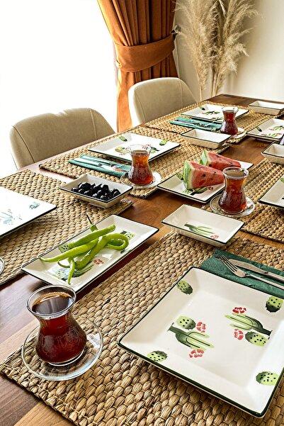 ŞURAMUTFAK Kahvaltı Takımı 15 Parça 6 Kişilik Kaktüs Desen El Boyaması