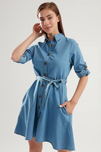 Pattaya Kadın Kuşaklı Mini Kot Gömlek Elbise Ptty20s-9924