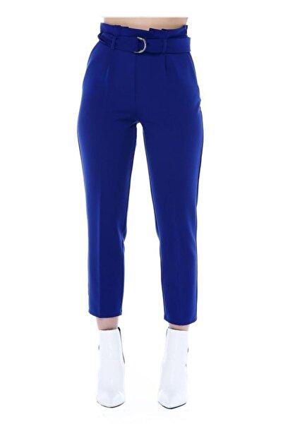 Modkofoni Yüksek Bel Tokalı Saks Mavi Bilek Pantolon
