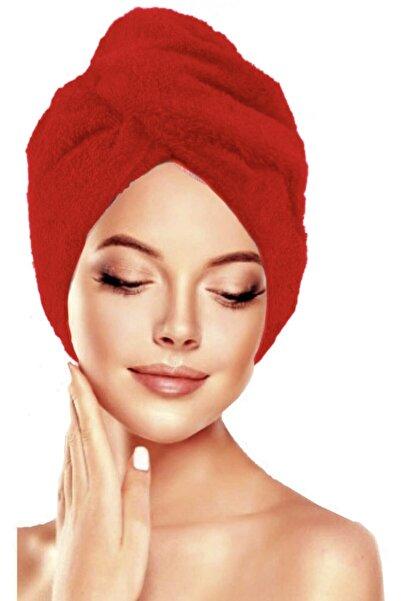 İKRARR Düğmeli %100 Pamuklu Saç Havlusu Saç Bonesi Kırmızı