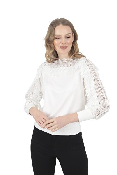 Modagusto Beyaz Madonna Yaka Üstü Dantel Bluz
