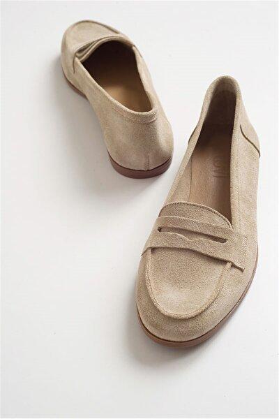 LuviShoes F02 Bej Suet Kadın Babet