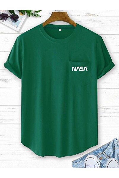 Black Sokak Erkek Yeşil Nasa Baskılı Tshirt