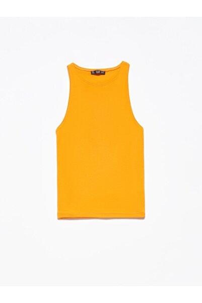 Dilvin 3694 Halter Yaka Tshırt-turuncu
