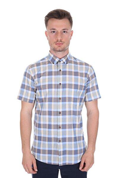 Diandor Kısa Kollu Regular Fit Erkek Gömlek Bej 2112060