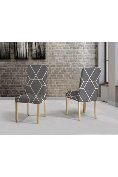 Madame Blue Ipek Kadife Likralı Dijital Baskı Geometri Gri 6lı Sandalye Kılıfı (6 Adet)
