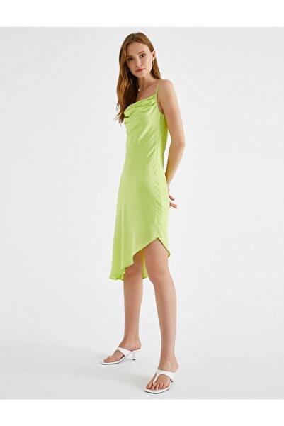 Koton Saten Elbise Asimetrik İnce Askılı