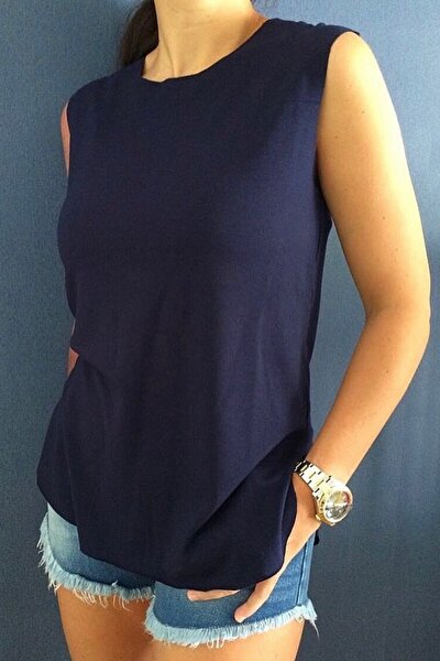 BASIC&CO Harper Lacivert Viskon Kolsuz T-shirt