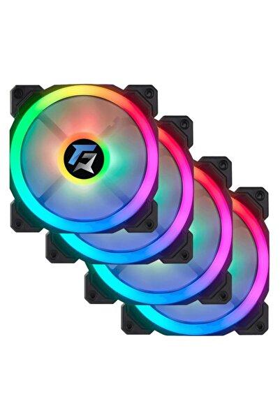 GAMEFORCE 7r Pro Seri (4'lü Set) Rainbow Ledli Sessiz 120mm 12cm Kasa Fanı