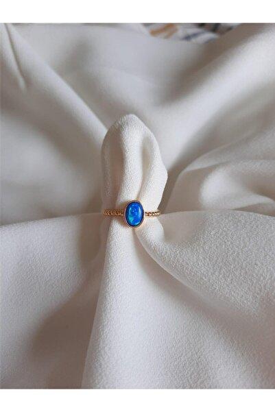 MİSSHİNG Mavi Opal Taş Ayarlanabilir Yüzük