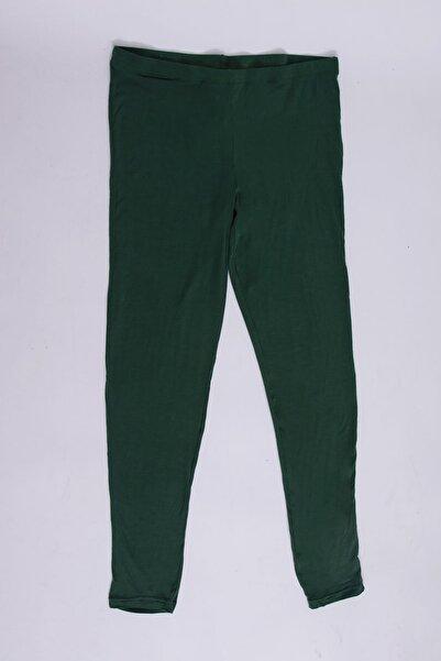 Şans Kadın Yeşil İnce Viskon Kumaş Tayt Pantolon 65N26146