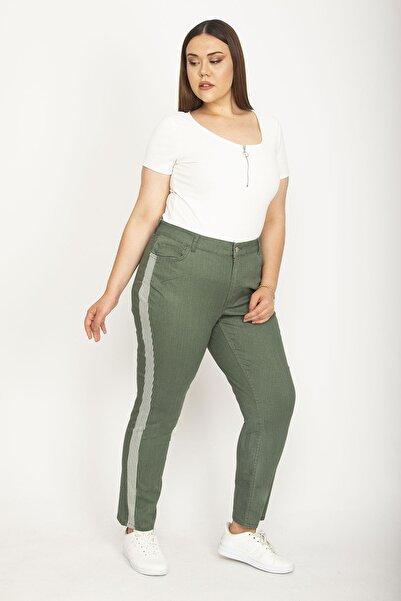 Şans Kadın Yeşil Yan Şerit Detaylı Likralı Gabardin Kumaş Pantolon 65N26405