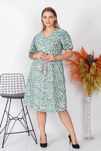 Neşeli Butik Kadın Çiçekli Büyük Beden Örme Elbise Nb8073