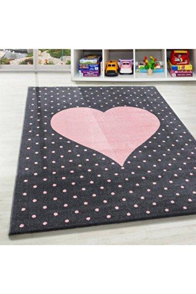 AYYILDIZ Çocuk Bebek Odası Halısı Kalp Puan Desenli Halı Pembe Gri