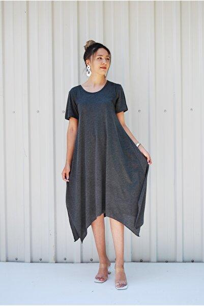 MGS LİFE Kadın, Yarım Kollu, Asimetrik Kesim, Büyük Beden Elbise