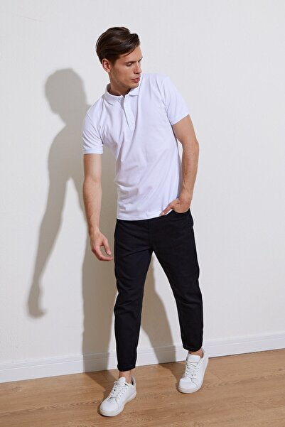 Karpefingo Erkek Basic Polo Yaka Beyaz T-shirt - 36817