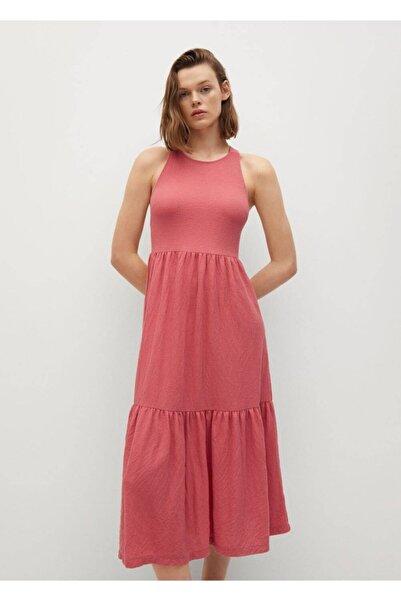 MANGO Woman Kadın Mercan Kırmızısı Fırfırlı Triko Elbise