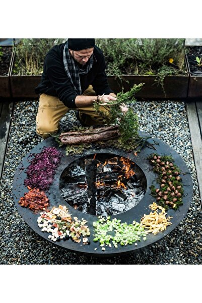 VİE 60 Cm Çap Mangal Ateş Çukuru Izgaralı Bahçe Teras Için Şömine