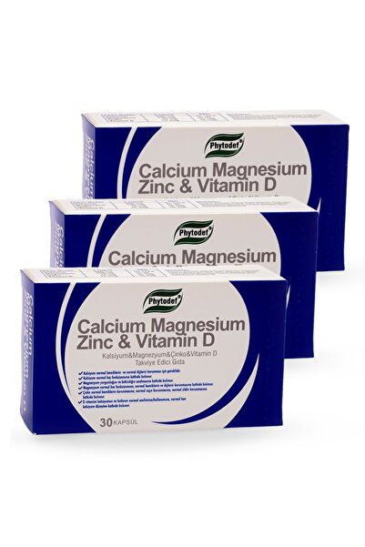 Phytodef Kalsiyum Magnezyum Çinko Vitamin D 30 Kapsül 3 Adet