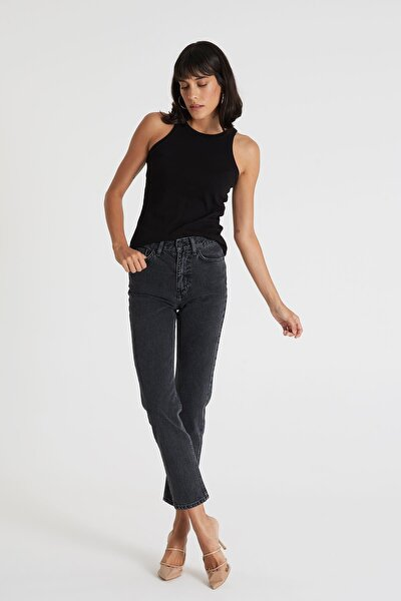 CROSS JEANS Gwen Siyah Yüksek Bel Regular Tappered Jean Pantolon C 4667-012