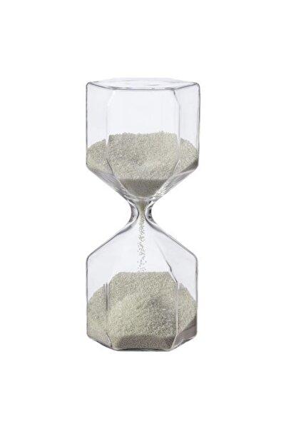 WİİK NATUREL Cam Kum Saati El Yapımı Beyaz Renkte Çok Güzel Bir Ürün