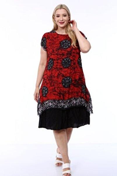 Kadın Büyük Beden Kırmızı Etnik Desenli Tülbent Kumaş Yazlık Elbise