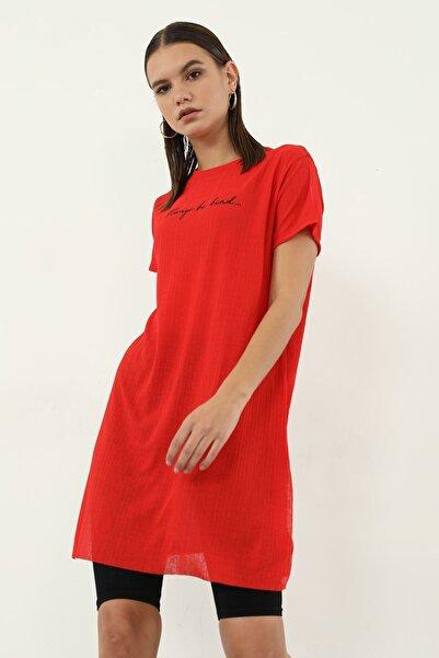 BY H Alwarys Be Kind Baskılı T-shirt Kırmızı