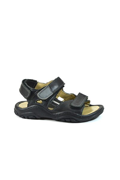 Toddler Hakiki Deri Ortopedik Siyah Erkek Çocuk Sandalet